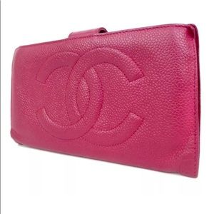 Authentic Chanel Pink Caviar Skin Leather Wallet